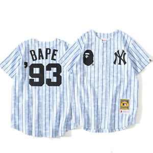 BapeA Bathing Ape Stripes Short Sleeve Tee Breathable Cardigan Baseball T-shirt