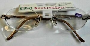 DESIGNER SPRING HINGES GOLD RIMLESS OVAL UNISEX READING GLASSES