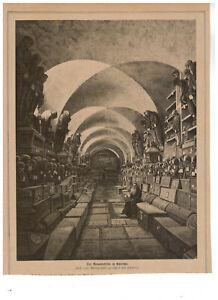 162 Holzstich Silografia PALERMO der Mumienkeller nach Hansen 1875 28x21cm