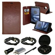 Motorola Moto Z Force Droid Leather Wallet Case Flip Folio Kickstand Card Holder