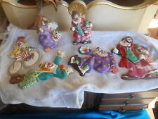 Lot of 6 Vintage Porcelain Hand Made Clown Ornament by Yona Original 1956 Japan