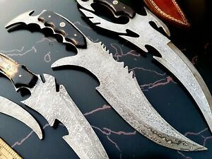 CUSTOM HAND MADE DAMASCUS STEEL ANTIQUE HUNTING  KNIVES  (LOT OF 3) RJ 05