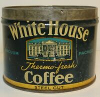 Vintage 1930s WHITE HOUSE COFFEE KEYWIND COFFEE TIN 1 POUND BOSTON MASSACHUSETTS