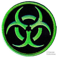 BIOHAZARD SYMBOL embroidered iron-on PATCH ZOMBIE GREEN new TOXIC WARNING DANGER
