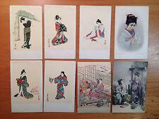 LOT of 8 JAPANESE GEISHA postcards circa 1903 (DETROIT PHOTOGRAPHIC CO.) RARE