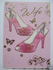 WONDERFUL PINK SHOES WITH LOVE TO MY WIFE BIRTHDAY GREETING CARD