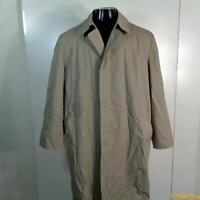 LONDON FOG RAINCOAT Rain Trench Coat Mens Size Large 42 beige w/ liner