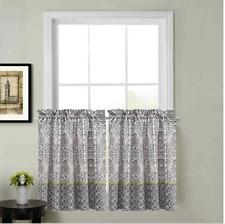 "Calais Kitchen Window Curtain Tier Pair 24"" black/green blue"