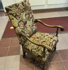 Antique English Jacobean Arm Chair Needlepoint Upholstery