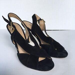 Michael Kors Becky Suede Crisscross Slingback Sandal Heels Black Size 6.5