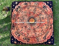 Astrology Indian Floor Pillow Meditation Cushion Cover Square Ottoman Pouf Cover