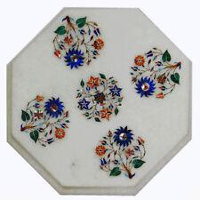 "12"" Marble corner Table top lapis semi precious stones inlay handicraft work"