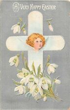 Angel Pictured on Cross With Snowdrops on Silver Background-1909 Easter Postcard