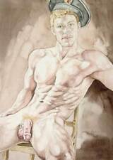 Oh boy, homme nu, watercolor print nude male seated sealer gay interest