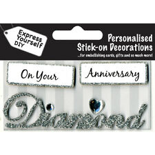 Diamond Anniversary Silver Greeting Card Topper MIP Handmade Scrapbooking Craft