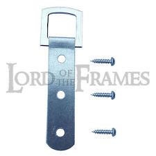 10 x Nickel Heavy Duty 3 Hole PICTURE FRAME STRAP HANGER Hanging Hook + Screws
