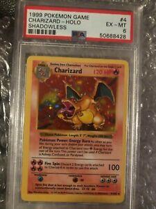 1999 Pokemon PSA 6 Shadowless Charizard 4/102 EX-MINT RARE