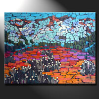 Original mosaic artwork painting porcelain mountains flowers fields GeeBeeArt