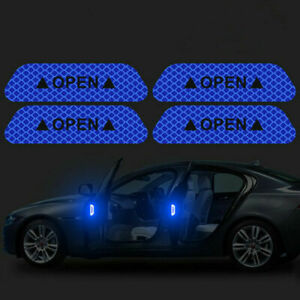 1PCS Blue Car Door Open Sticker Reflective Tape Safety Warning Auto Decal Film