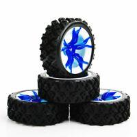 4Pcs 1/10 Rally Tires&Wheel 12mm Hex Blue For HSP HPI RC Off Road Model Car