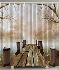 "Brown Cream Wood Dock Trees Fog Fabric Shower Curtain Design 70"" Bathroom W Hook"