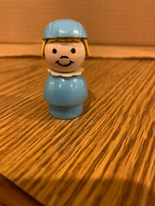 Fisher Price Little People Light Blue Stewardess shorter with Blonde Hair & Cap