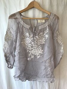 For Love & Liberty By Johnny Was Silk Chiffon Blouse