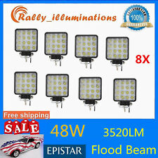 8X 48W Square LED Light Bar Driving Fog SUV 4WD Trailer Boat Offroad FLOOD/SPOT