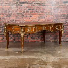 Ornate 20th Century French Louis Xv Leather Top Bureau Plat Desk