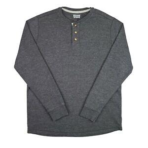 Levi's Henley Shirt Men's Size Medium Waffle Knit Pullover Gray Long Sleeve
