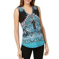 INC NEW Women's Printed Zip-neck Sleeveless Blouse Shirt Top TEDO