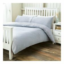Blue Ticking Striped Double Duvet Set Cover Pillowcases Quilt
