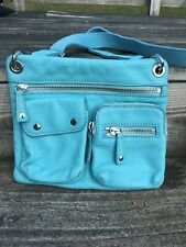 Fossil Light Blue Leather Crossbody Shoulder Bag