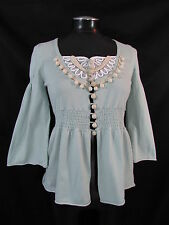Anthropologie Moth Cardigan M Blue Sweater 100% Cotton Wooden Buttons