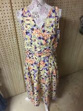 George Yellow Floral Abstract Sheer Lined Zipper Fit & Flare Dress Women's 12 L