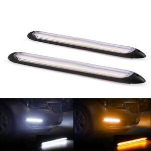 2Pcs Car LED White/Amber Driving Lamp Fog 12v Daytime Running Light Universal