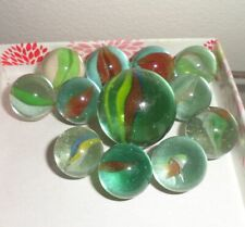 """11 Collectible Vintage Multicolor Cat Eye Glass Marble 1/2"""" + 7/8"""" Shooter"""
