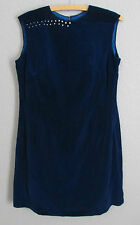 Women's True Vintage Blue Velvet 60's Sleeveless Party Dress Pearl Details Large