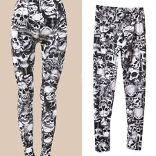 Women's Girls Trend Gothic Punk Style Party Sexy Skull Print Tights Pants Hot