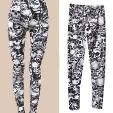 Women Pants Skull Print Skinny Slim Stretchy Leggings Long Pant Autumn *1