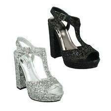 SALE F10567 LADIES SPOT ON BUCKLE PLATFORM T BAR GLITTERY PARTY HEELED SANDALS