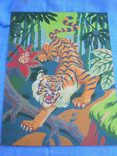 "Paint By Numbers Painting Tiger in Jungle 12"" X 16"" On Paint Board"