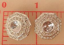 "3 Silver Metal Octagon Czech Rhinestone Shank Button 7.5mm Setting 3/4"" 20mm 574"