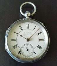 Antique 1903 UK Hallmarked Chester Solid Sterling Silver Pocket Watch H Samuel