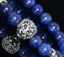 Men's Blue SODALITE Retro Silver Lion Head Beaded Yogo Stretch Bracelet Jewelry