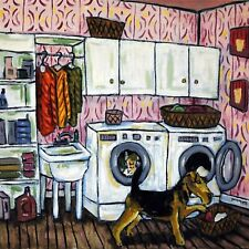 Airedale terrier Laundry room art tile coaster gift Jschmetz abstract folk art