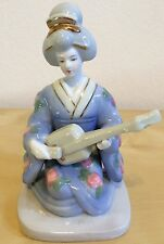 Gold Oriental Geisha Girl Figurine Statue Japan Handpainted Porcelain Collectibl