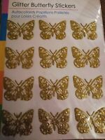 Glittery Butterfly Card Making Stickers - 12 Stickers - Gold Glitter