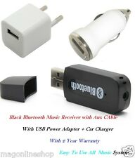 Bluetooth MUSIC Audio Receiver Adapter Dongle 3.5mm aux+ USB-POWER + Car Charger