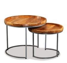 Industrial 2 Nest Tables Vintage Rustic Furniture Metal Round Table Side Room
